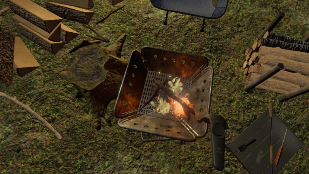 小さな枝から徐々に大きな薪に火を育てていきます。
