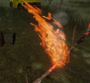 移動による火の揺れ